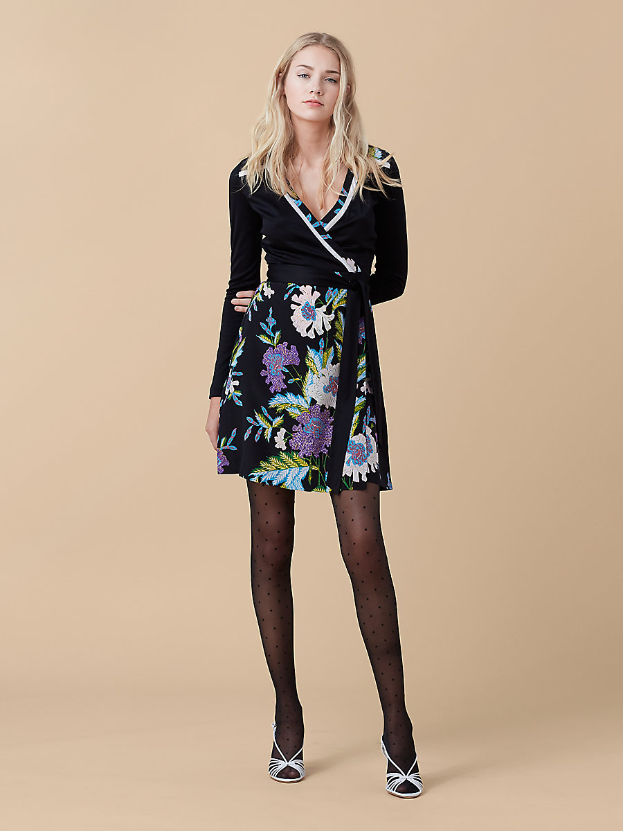 Banded Wrap Dress in Black/ Curzon Black by DVF
