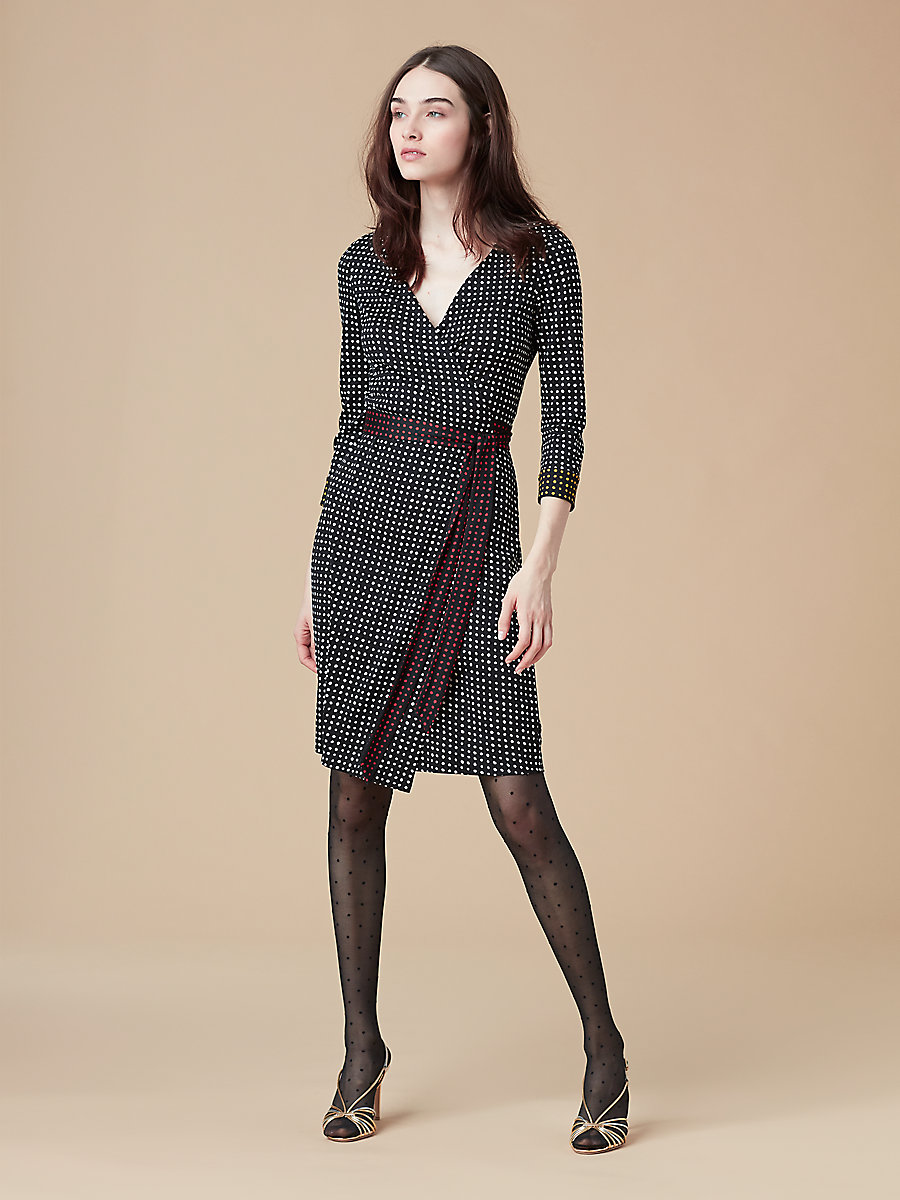 New Julian Wrap Dress in Ferma Black by DVF