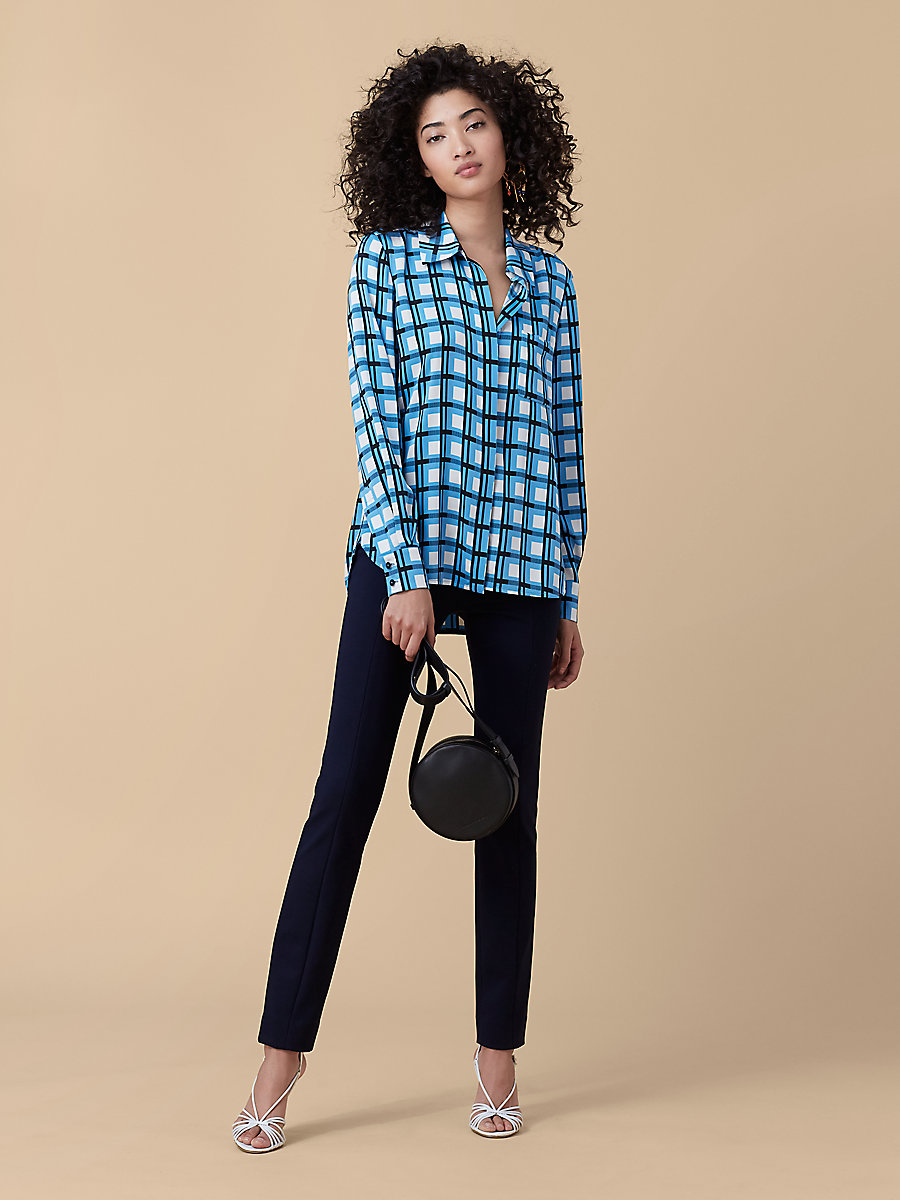 Printed Chiffon Top in Rivoli Check True Blue/ Navy by DVF