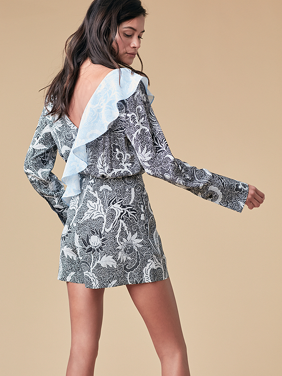 Long Sleeve Ruffle Romper Landing Pages By Dvf