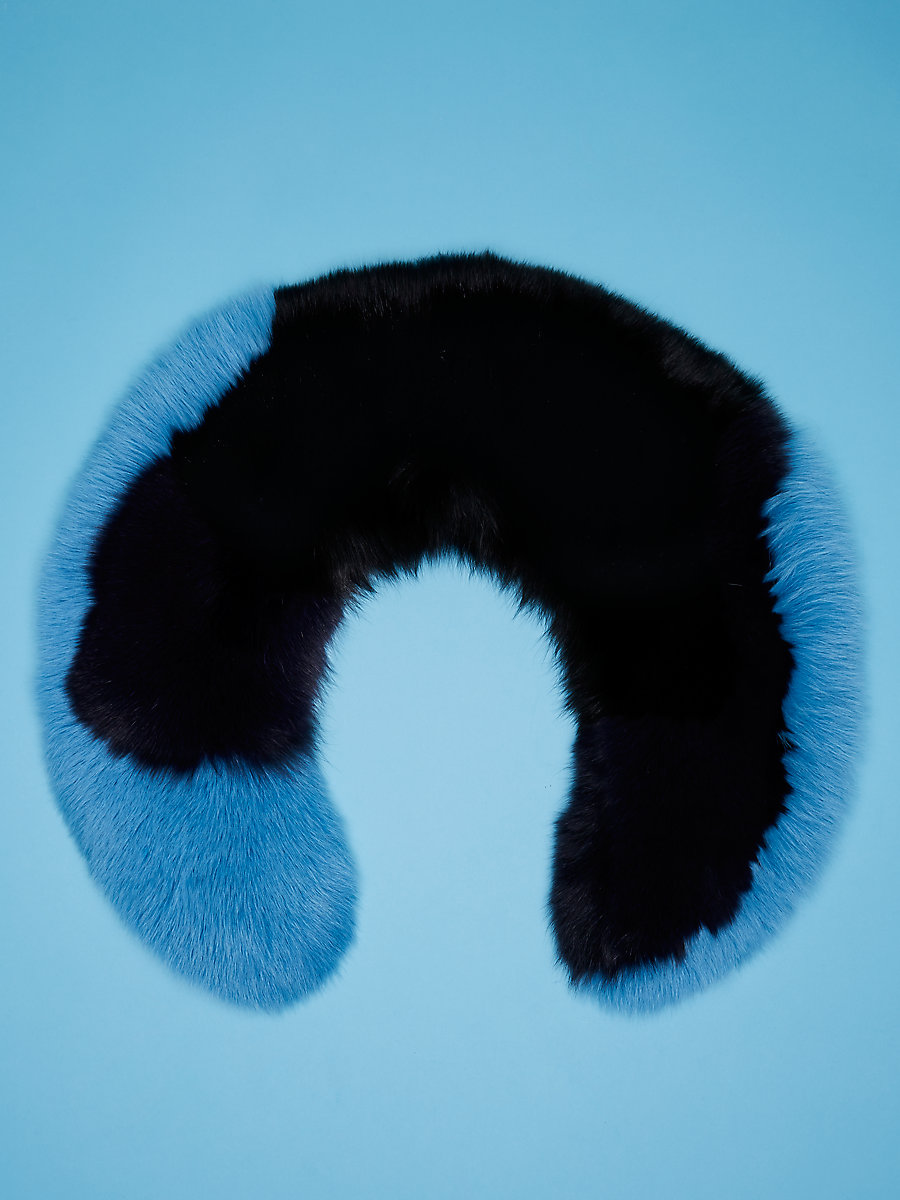 Fur Collar in Black/ Alexander Navy/ True Blue by DVF