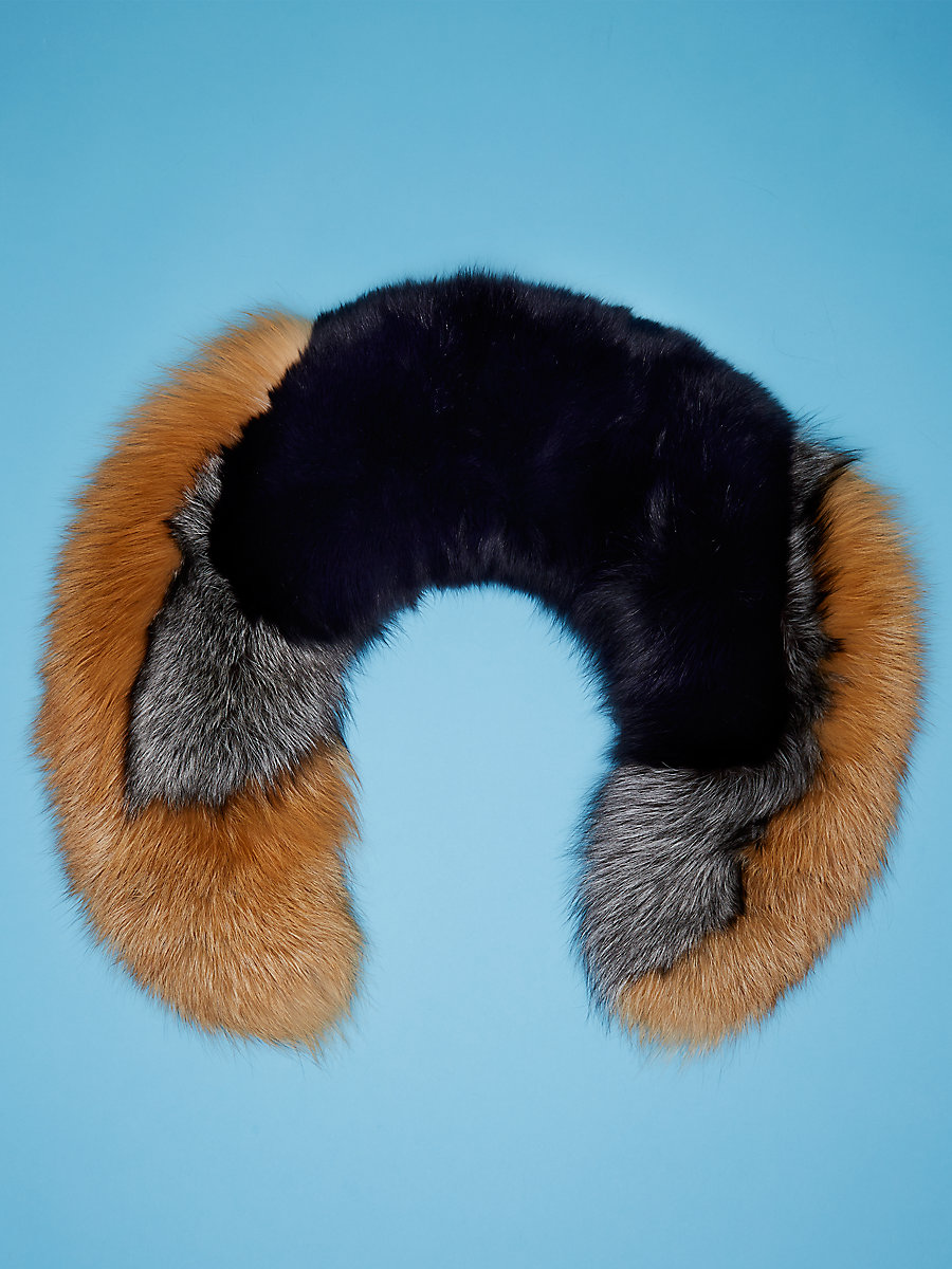 Fur Collar in Alexander Navy/ Natural Fox by DVF