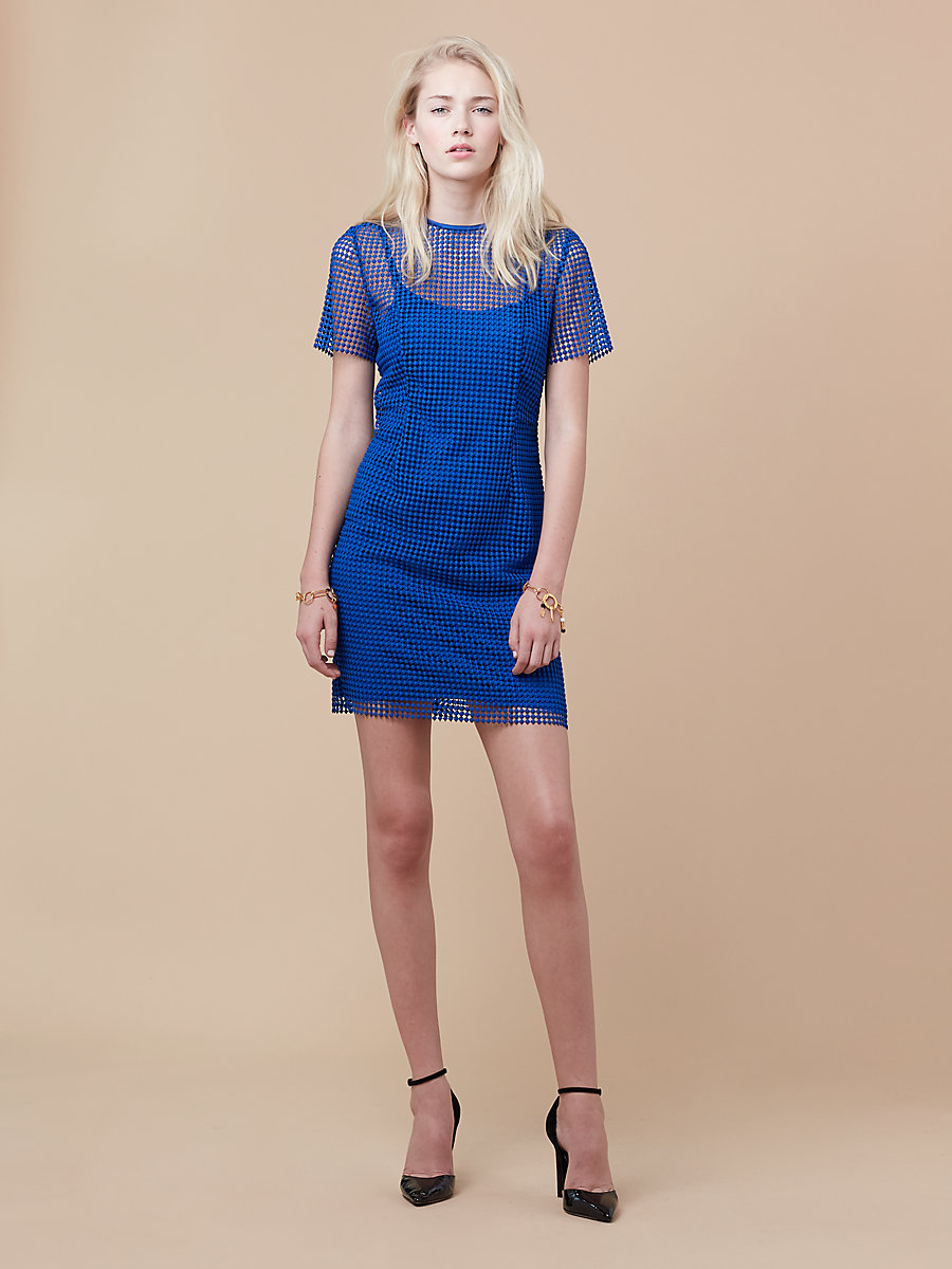 Chain Lace Dress in French Blue by DVF