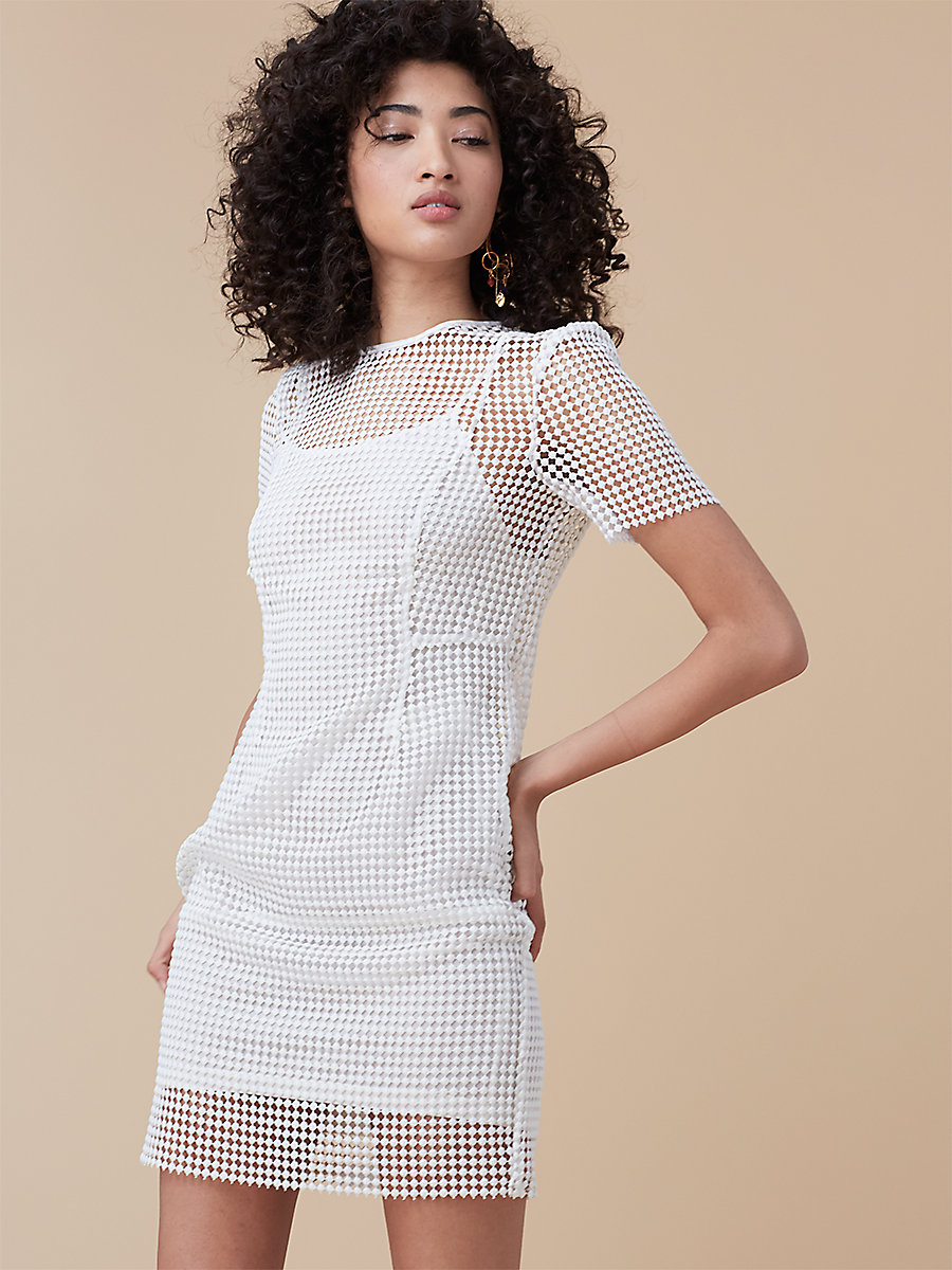Chain Lace Dress in White by DVF