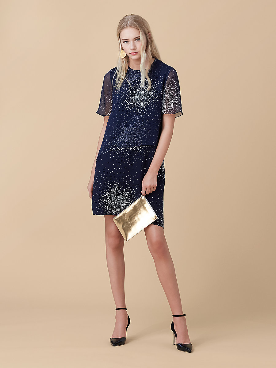 Two Tiered Dress in Belvedere Navy by DVF