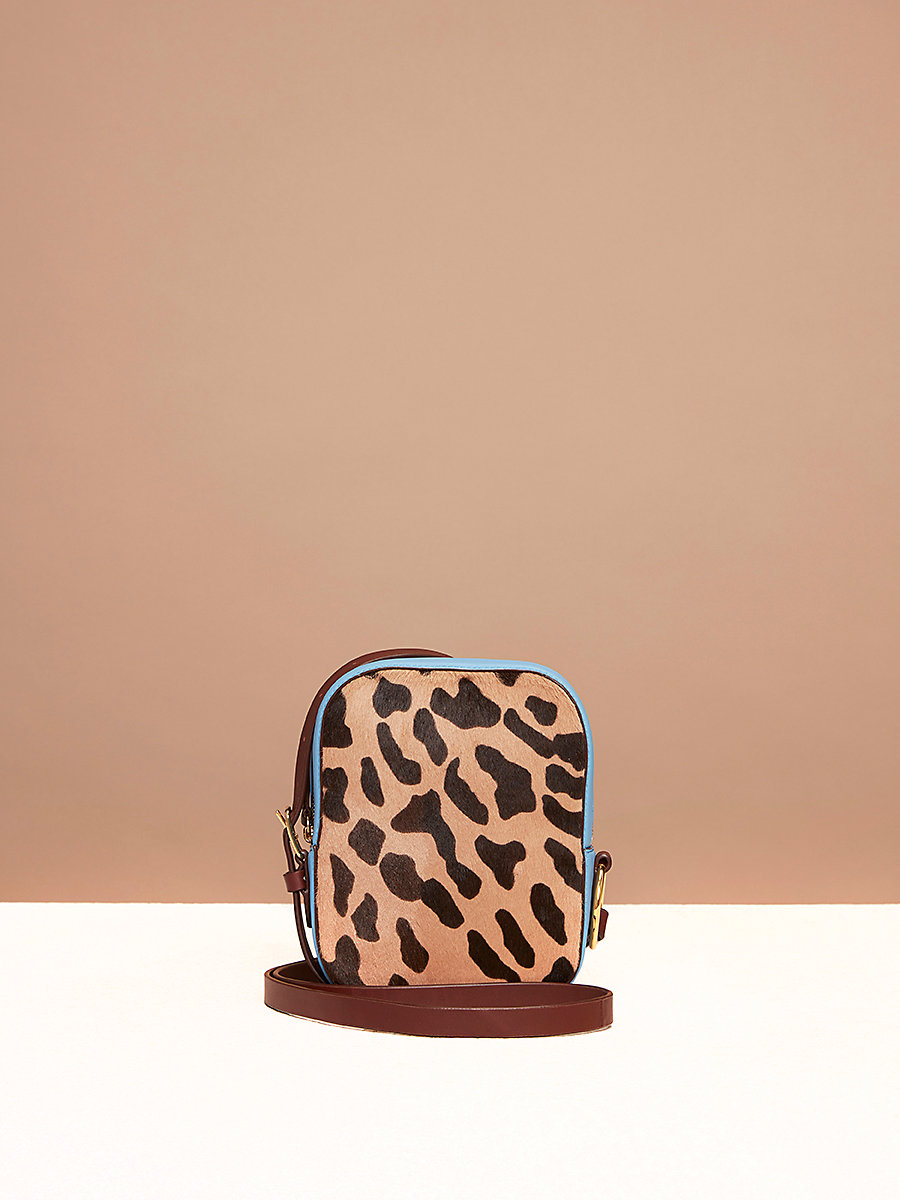 Camera Bag in Leopard/ Powder Blue by DVF