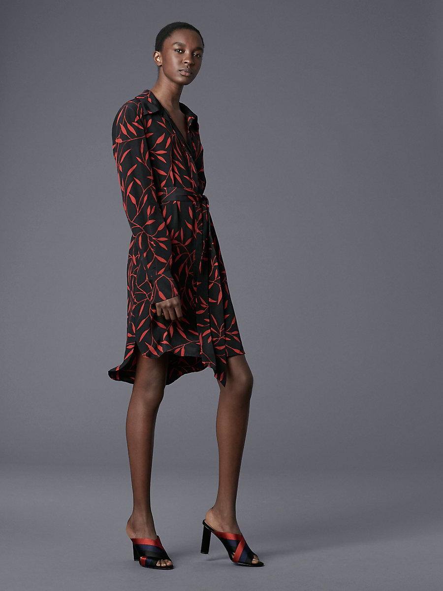 Long-Sleeve Shirt Dress in Shelton Black by DVF
