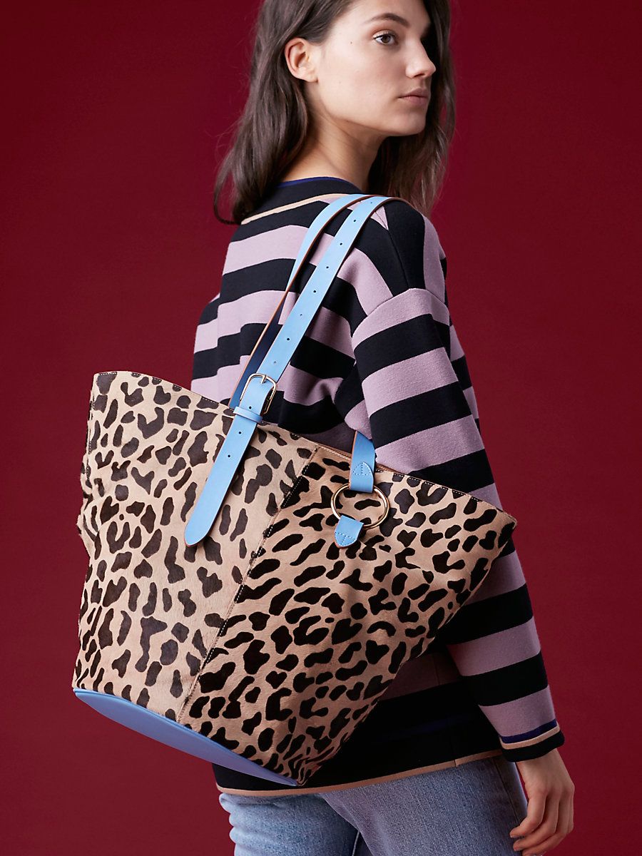 Belted Tote in Leopard/ Powder Blue by DVF
