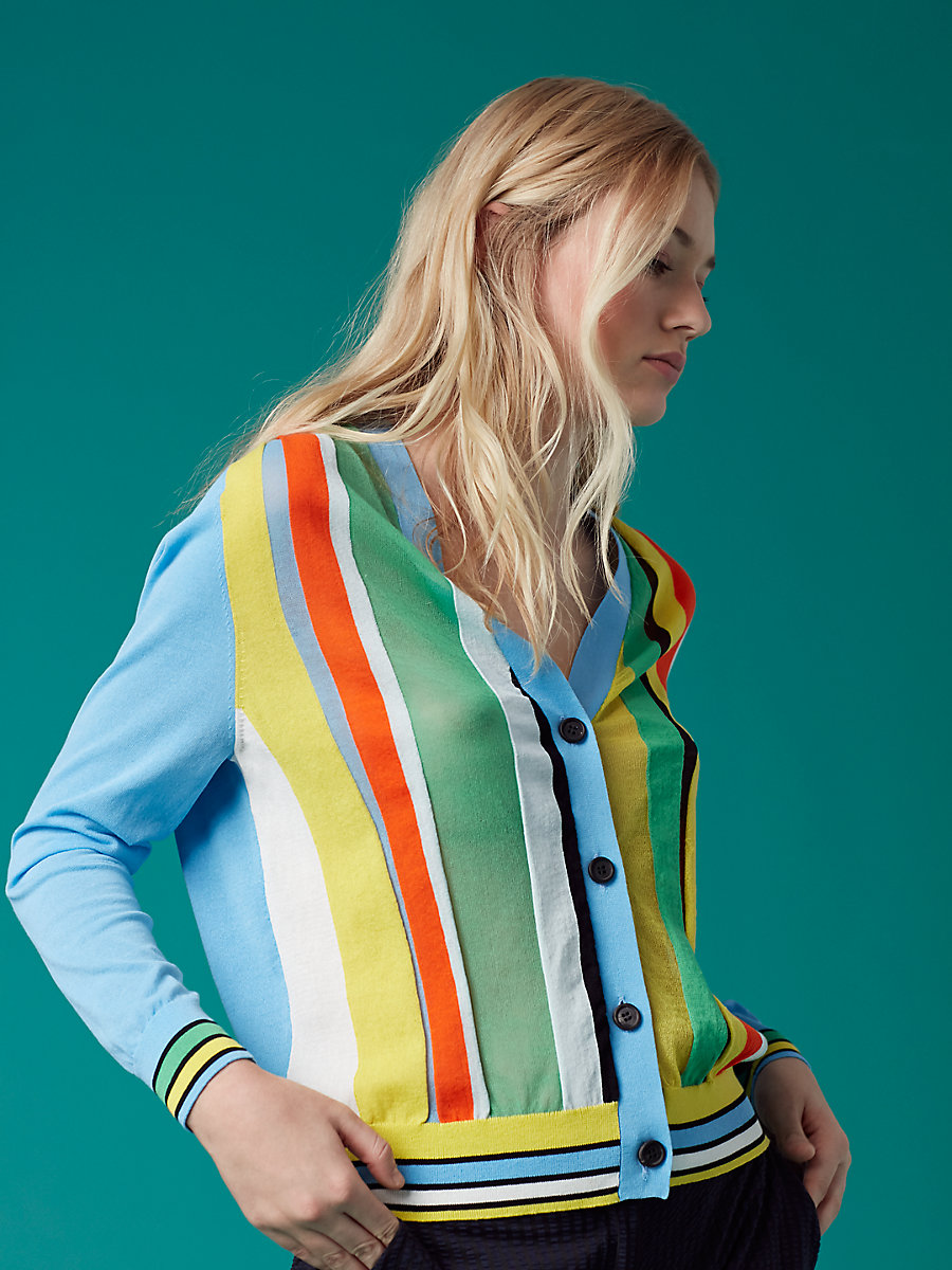 Long Sleeve Paneled Cardigan in Sky Combo by DVF
