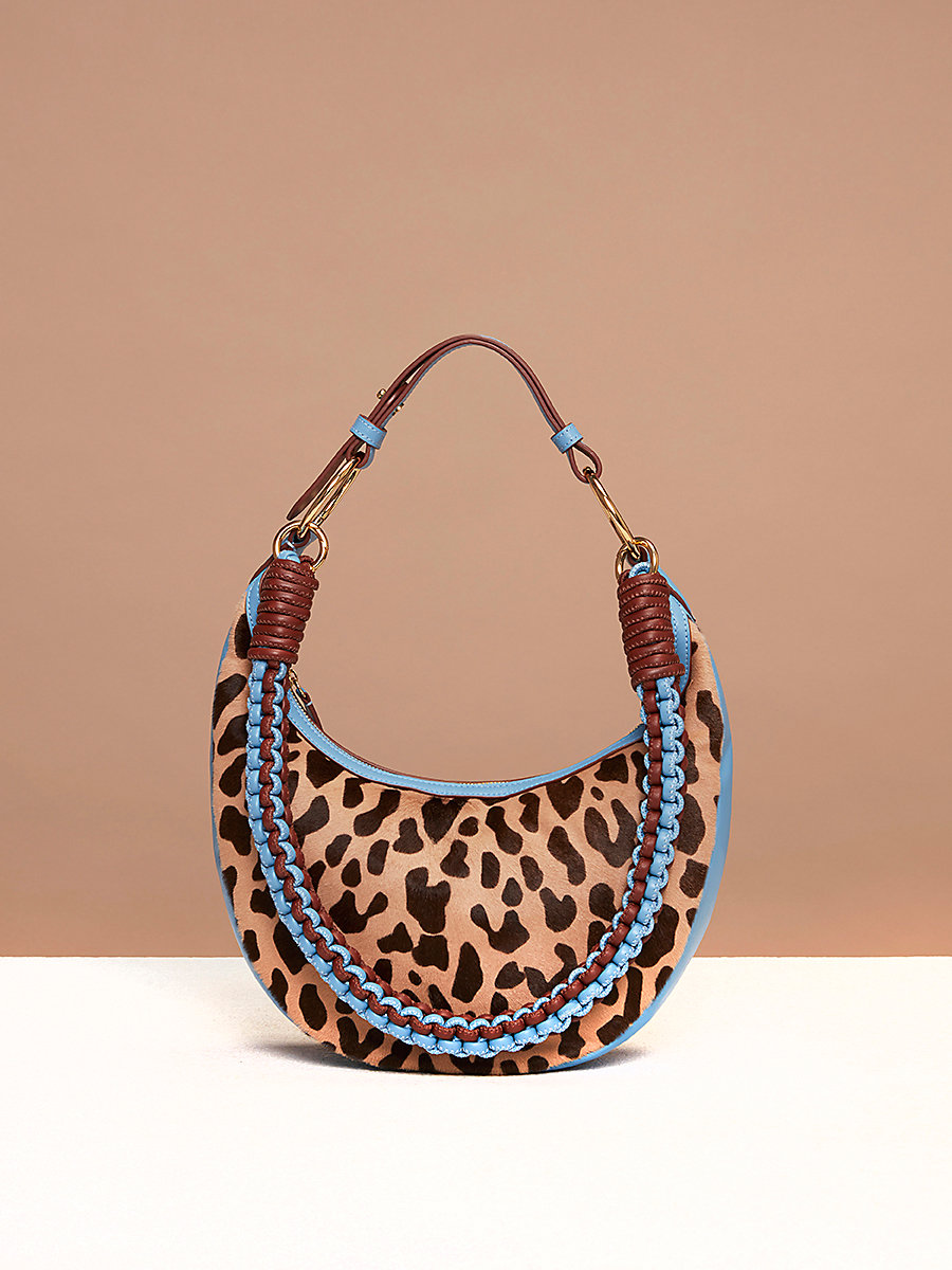 Mini Sling Hobo Bag in Leopard/ Powder Blue by DVF