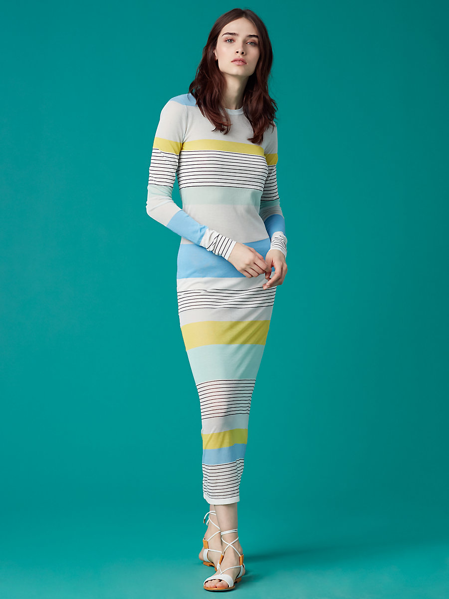 Color Block Knit Dress in Acid Yellow Combo by DVF