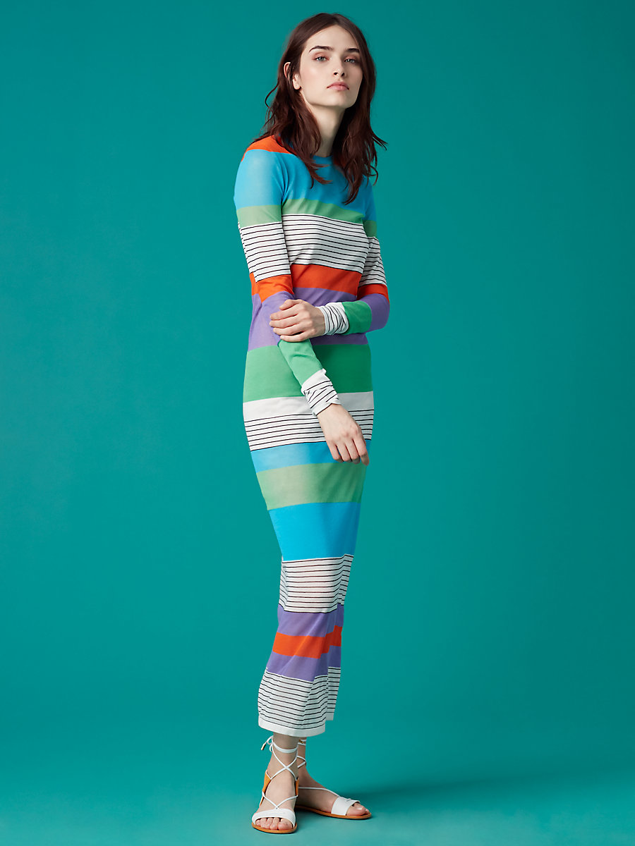 Color Block Knit Dress in Azuro Combo by DVF