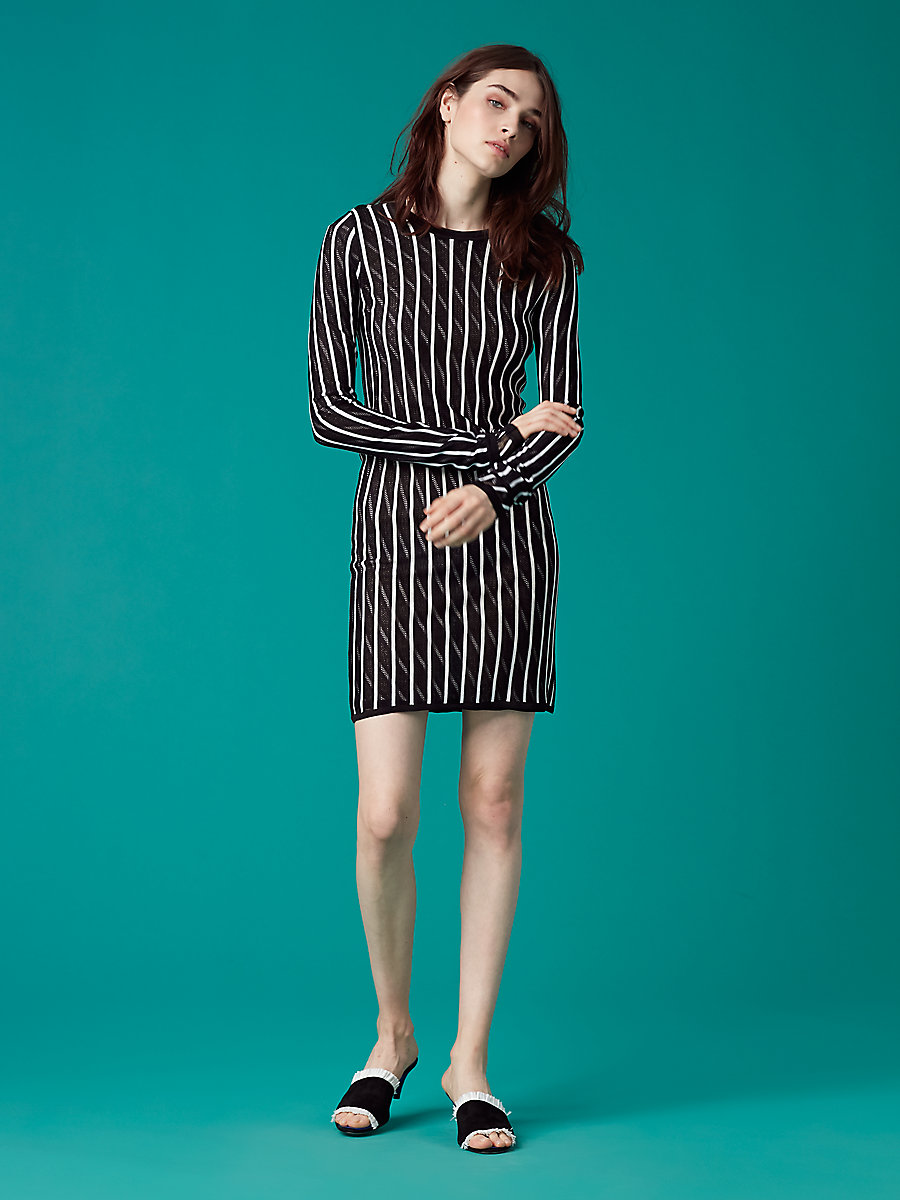 【先行予約 7月下旬お届け予定】Long-Sleeve Crew Neck Knit Dress in Ivory/ Black by DVF