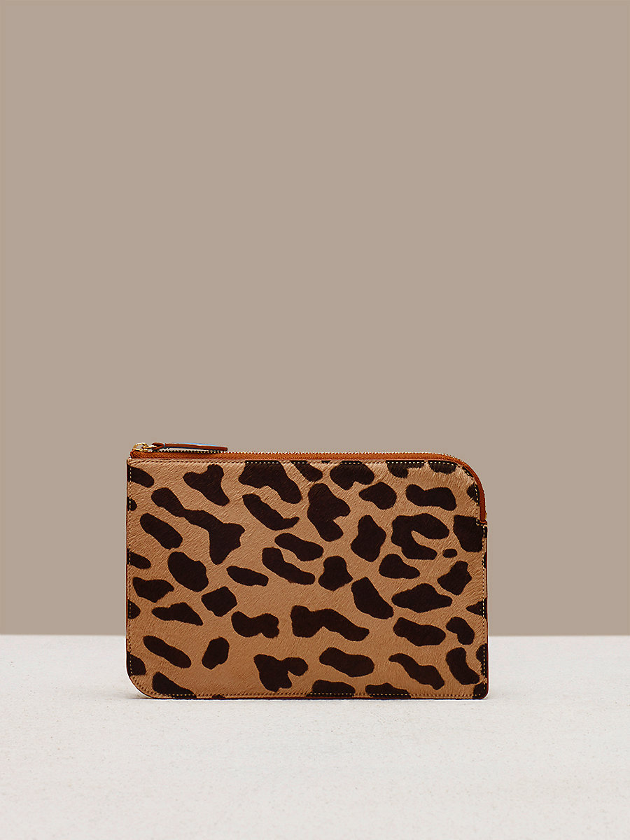 Medium Zip Pouch in Leopard/ Chestnut by DVF