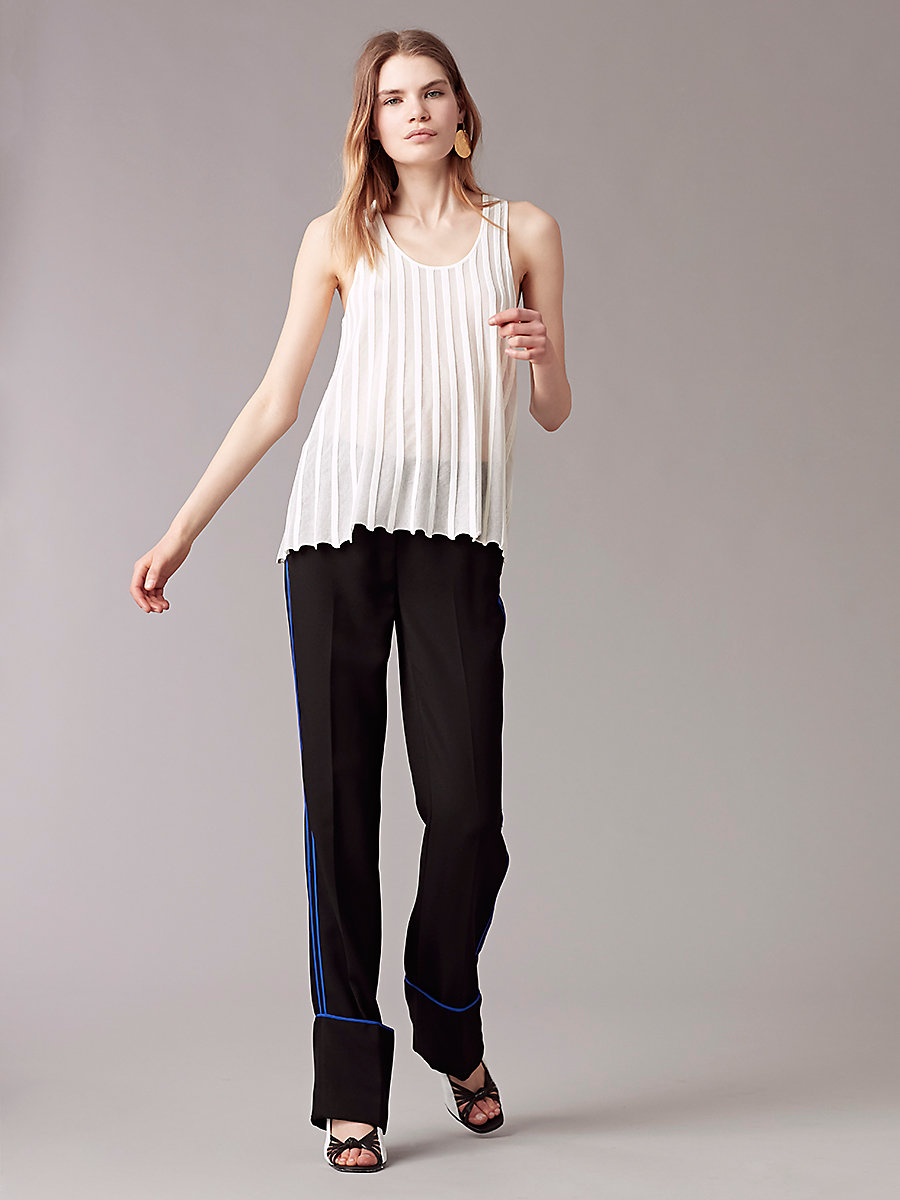 Sleeveless Ribbed Top in Ivory by DVF