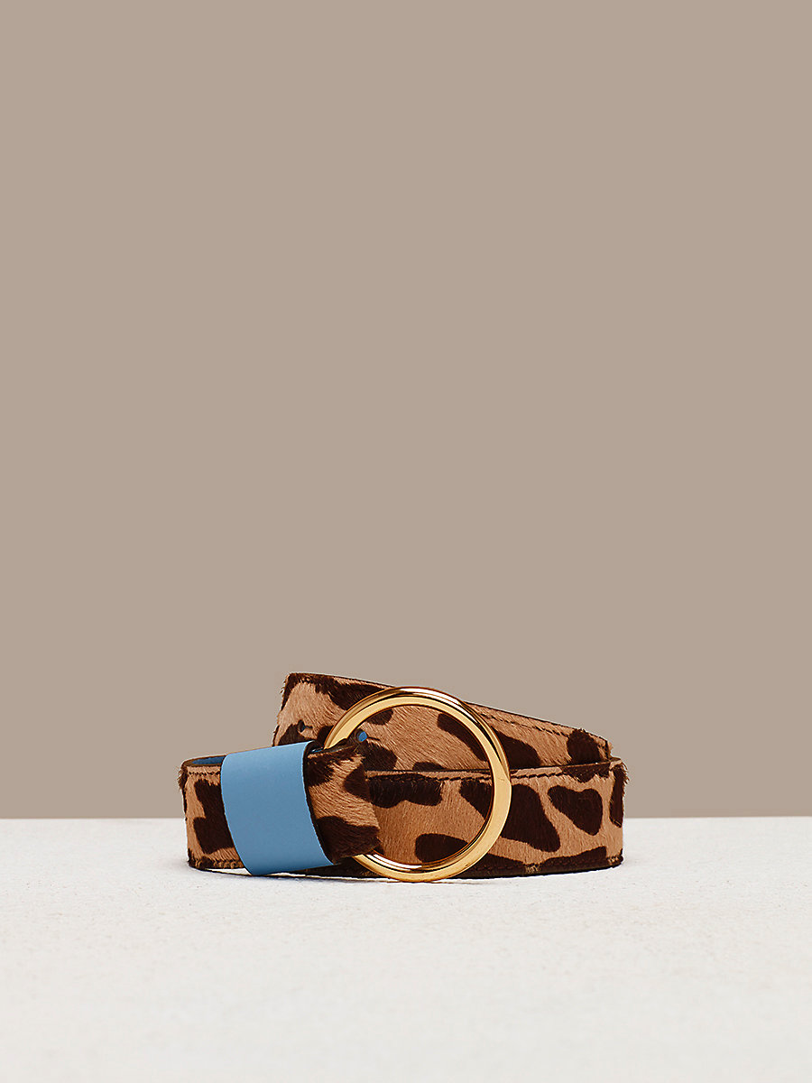 O-Ring Belt in Leopard/ Powder Blue by DVF