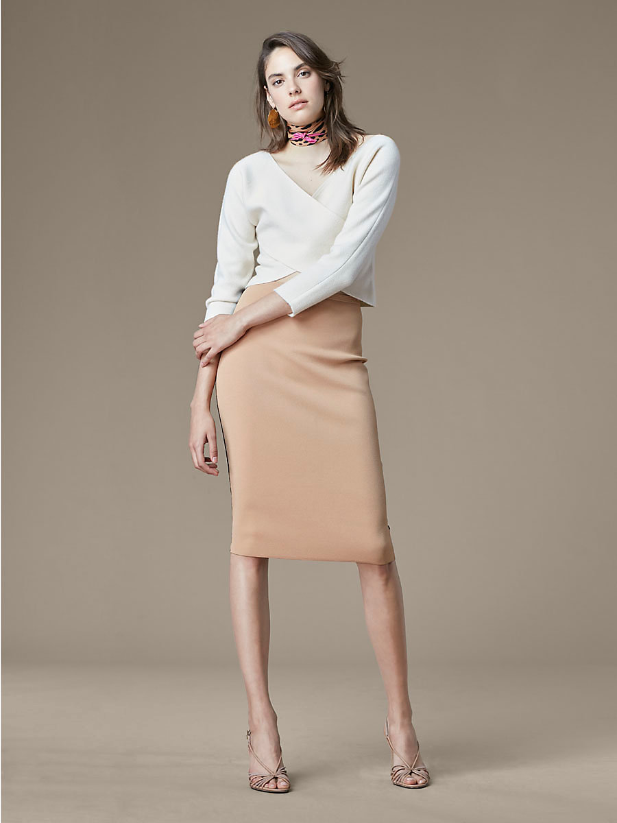 Knit Pencil Skirt in Camel/black by DVF