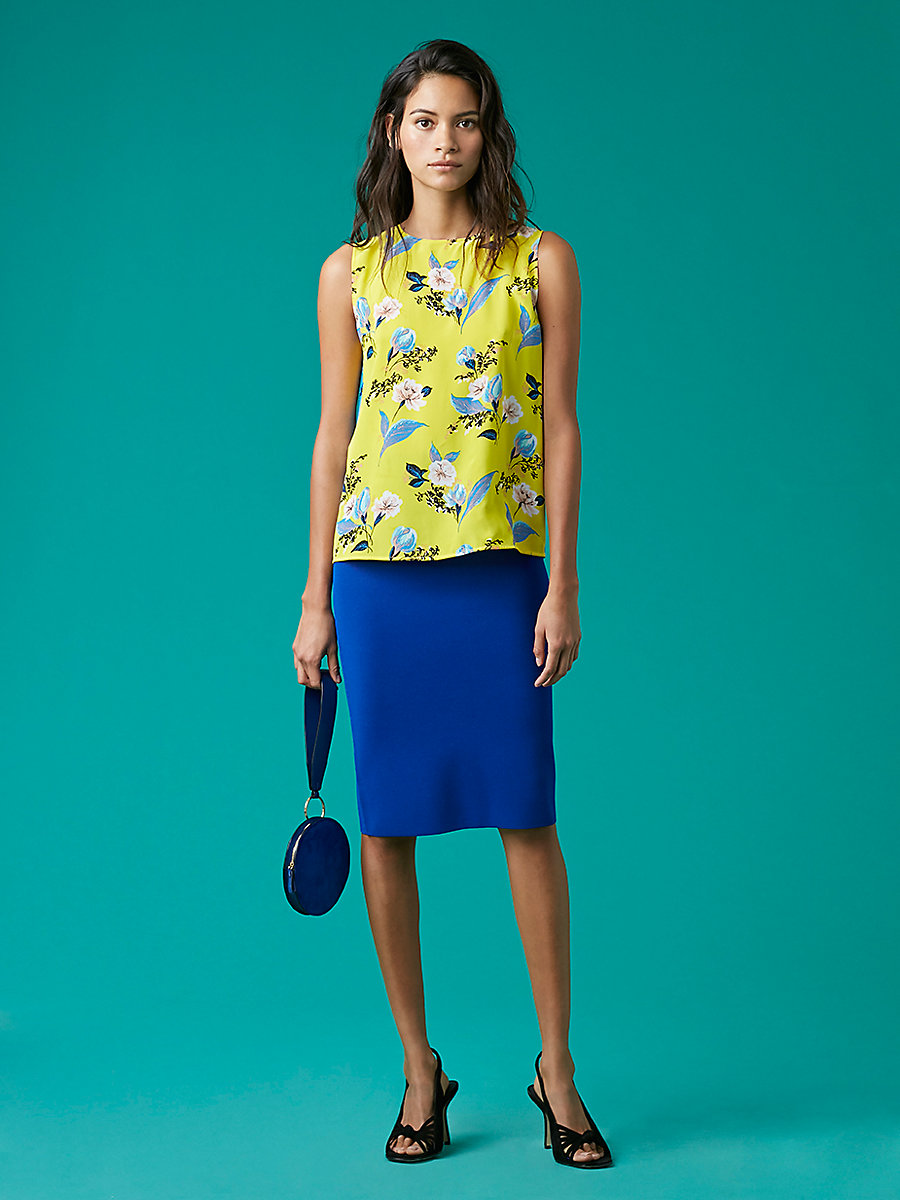 Knit Pencil Skirt in Klein Blue by DVF