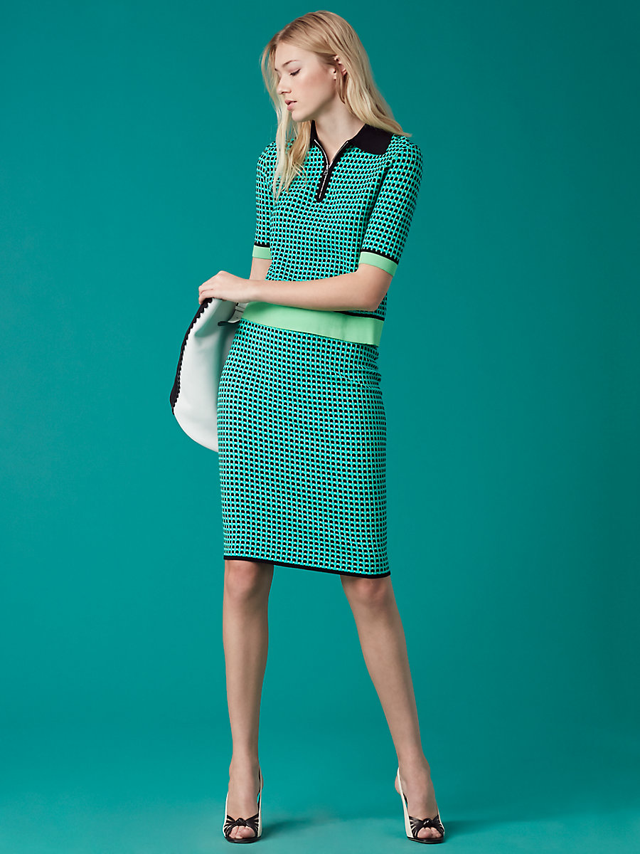 Short-Sleeve Collared Knit Shirt in Bright Aqua/ Acid Green/ Black by DVF