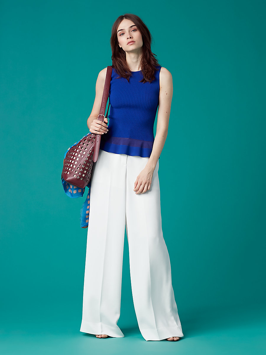 Sleeveless Knit Peplum Top in Klein Blue by DVF