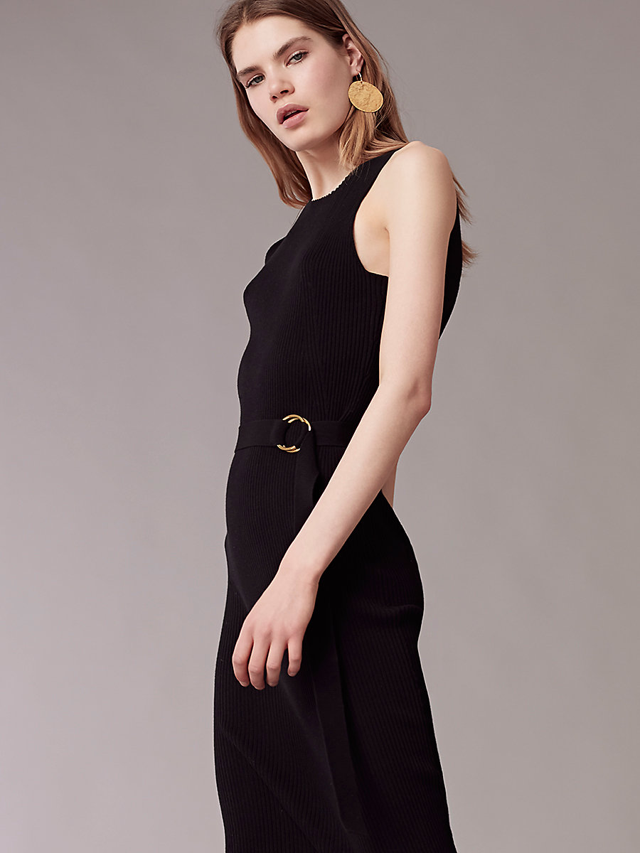 Sleeveless Knit Belted Dress in Black by DVF