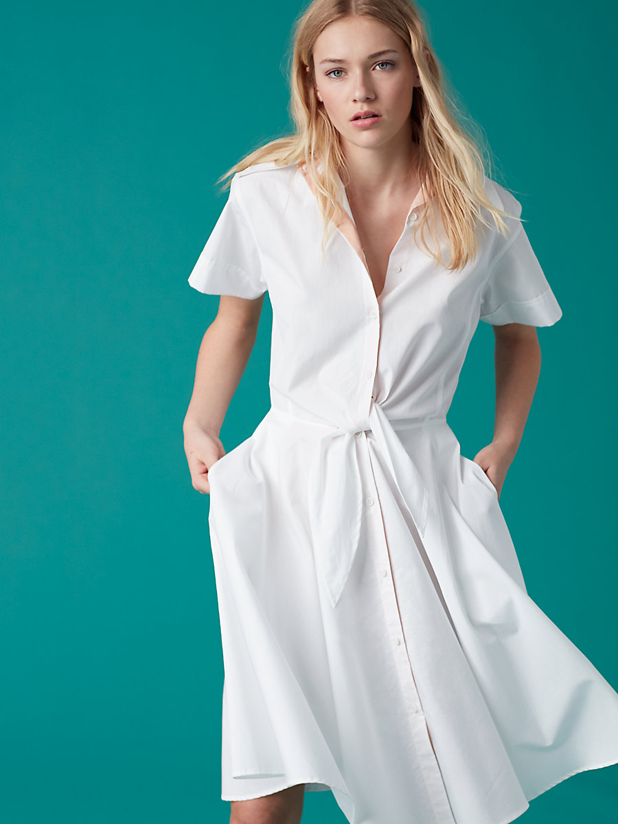 Short Sleeve Collared Shirt Dress in White by DVF