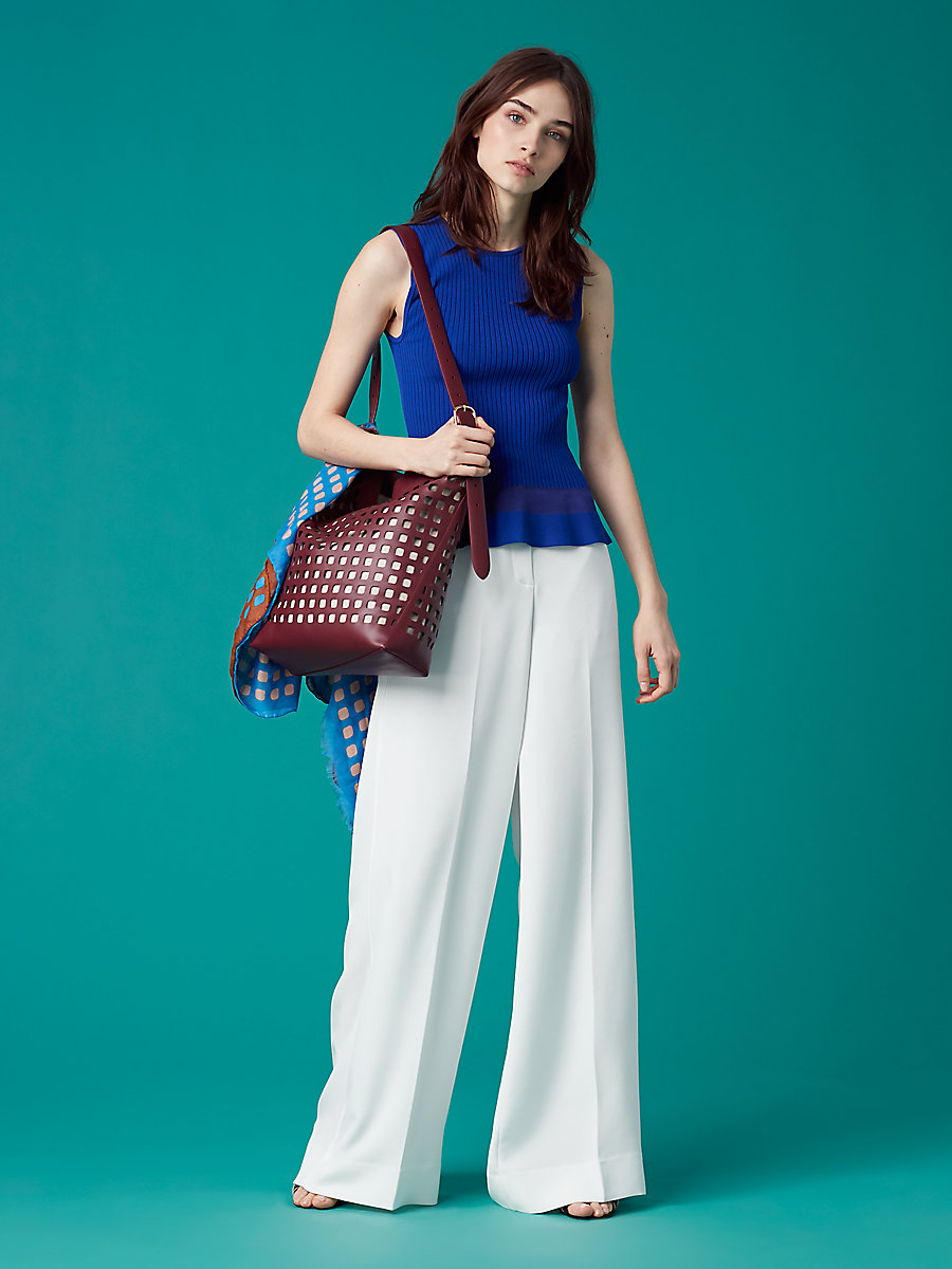 Wide Leg Pant in White by DVF