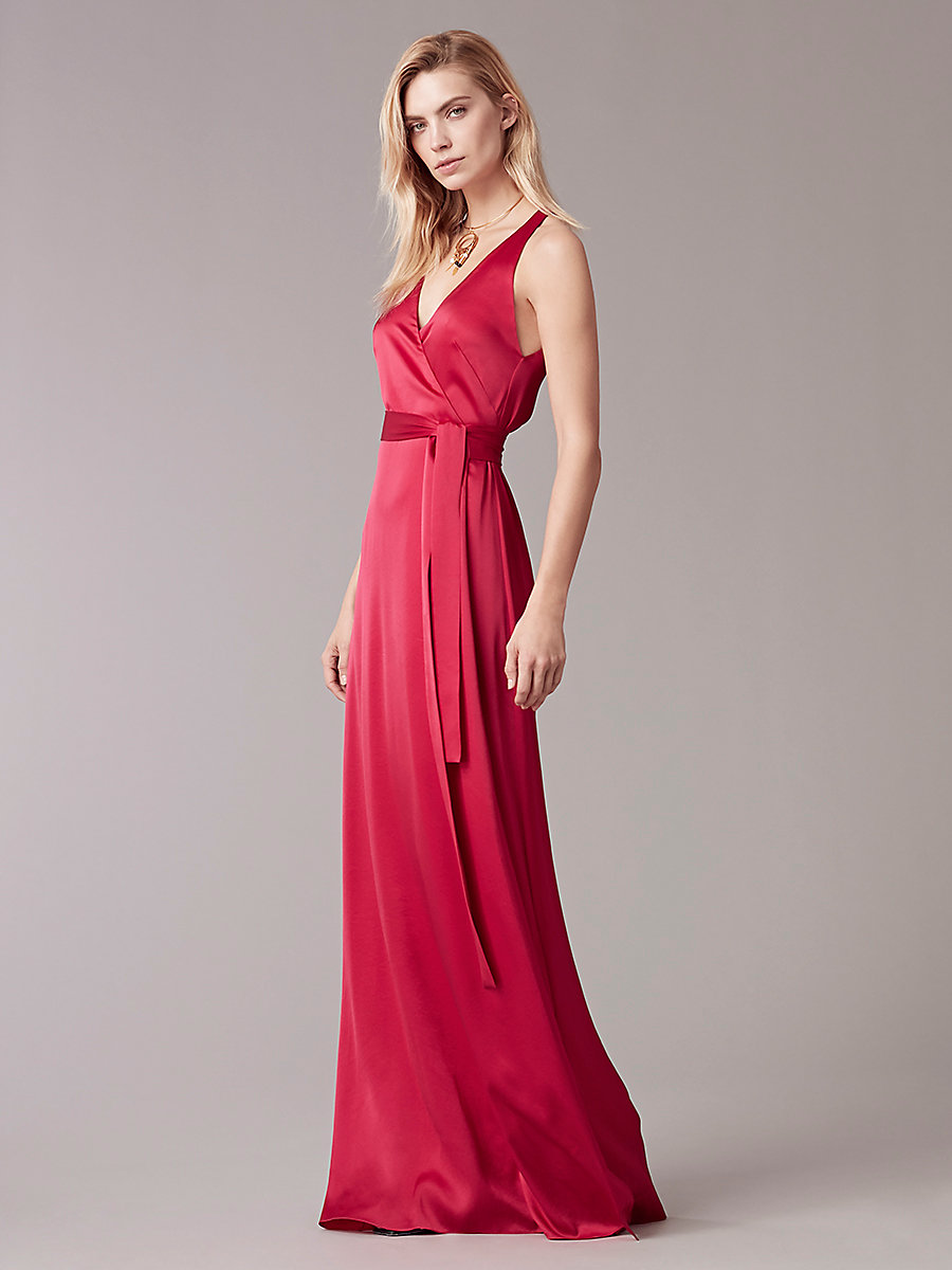 Sleeveless Floor-Length Wrap Dress in Cerise by DVF