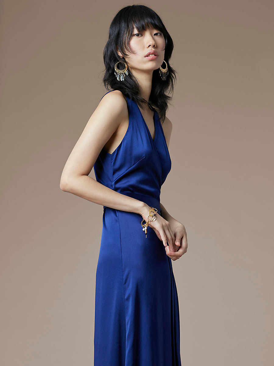 Sleeveless Floor-Length Wrap Dress in Deep Violet by DVF