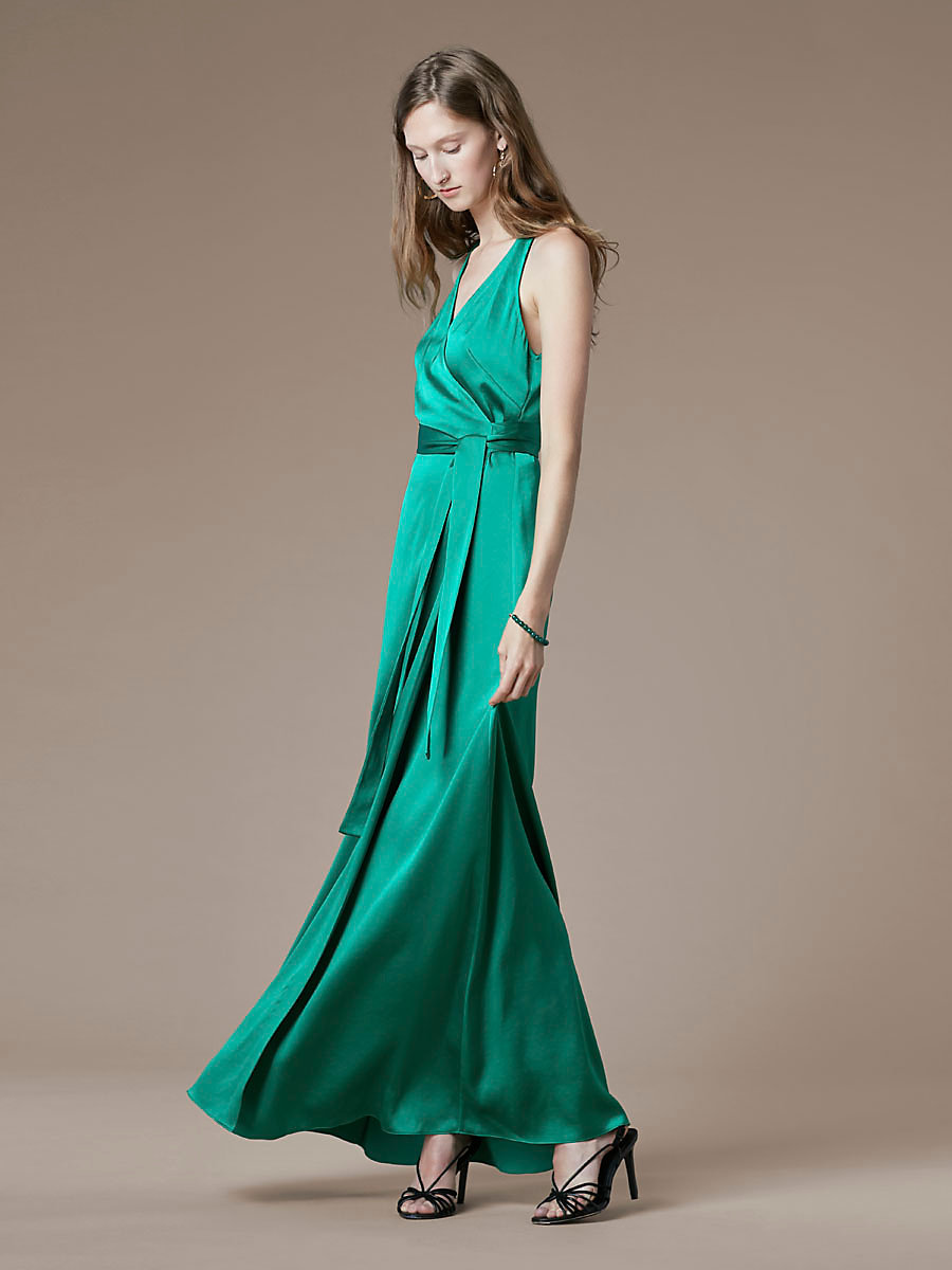 Sleeveless Floor-Length Wrap Dress in Evergreen by DVF
