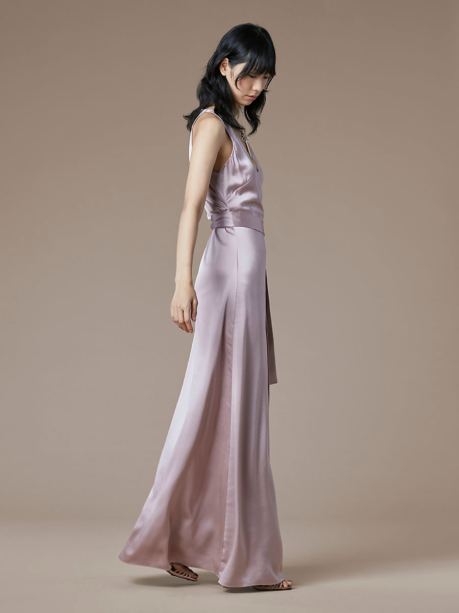 Sleeveless Floor-Length Wrap Dress in Mauve by DVF