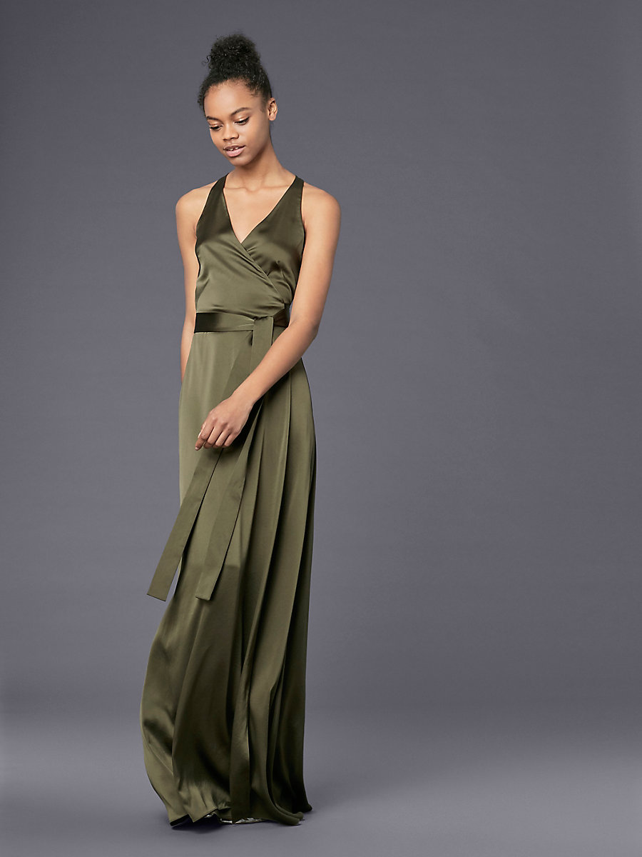 Sleeveless Floor-Length Wrap Dress in Olive by DVF