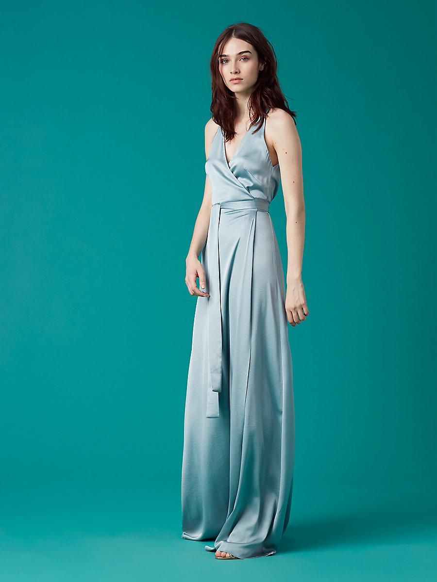 Sleeveless Floor-Length Wrap Dress in Slate Blue by DVF