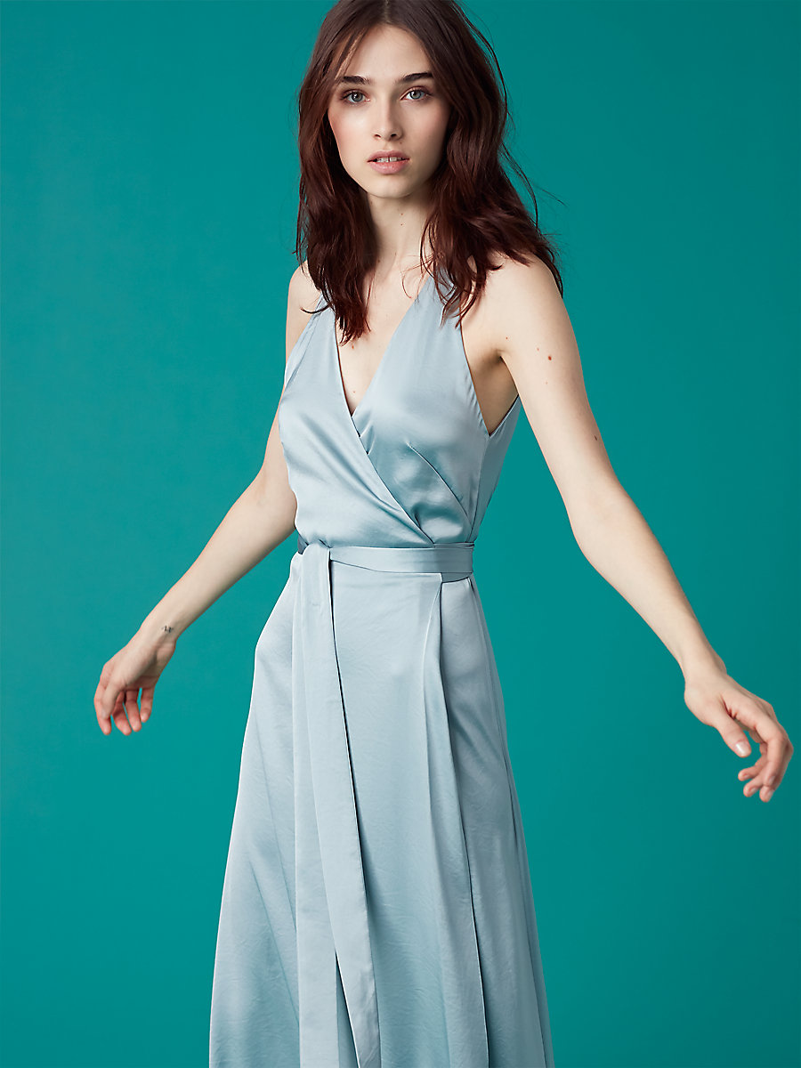 Sleeveless Floor-Length Wrap Dress in Slate Blue by DVF