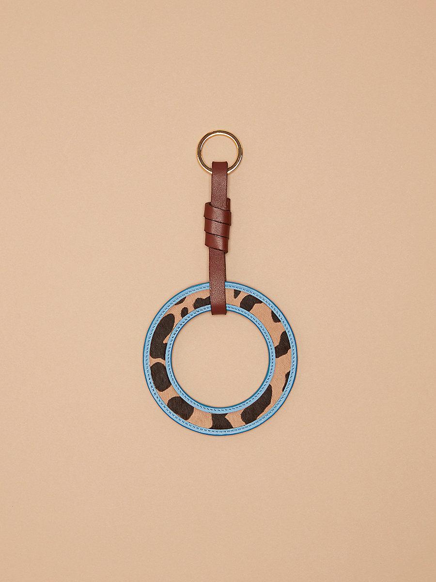 Circle Charm Medium in Leopard/ Powder Blue by DVF