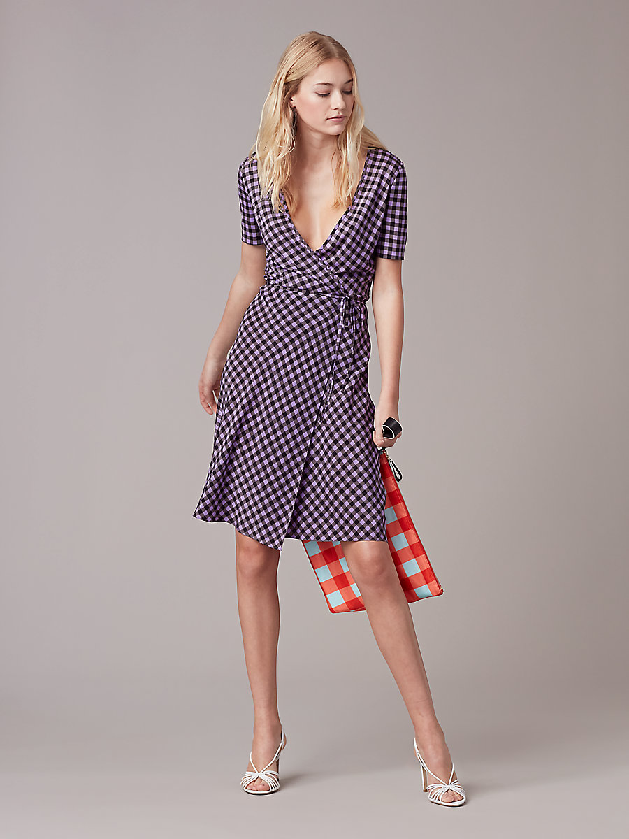 Short Sleeve Flared Wrap Dress in Cossier Small Violet by DVF