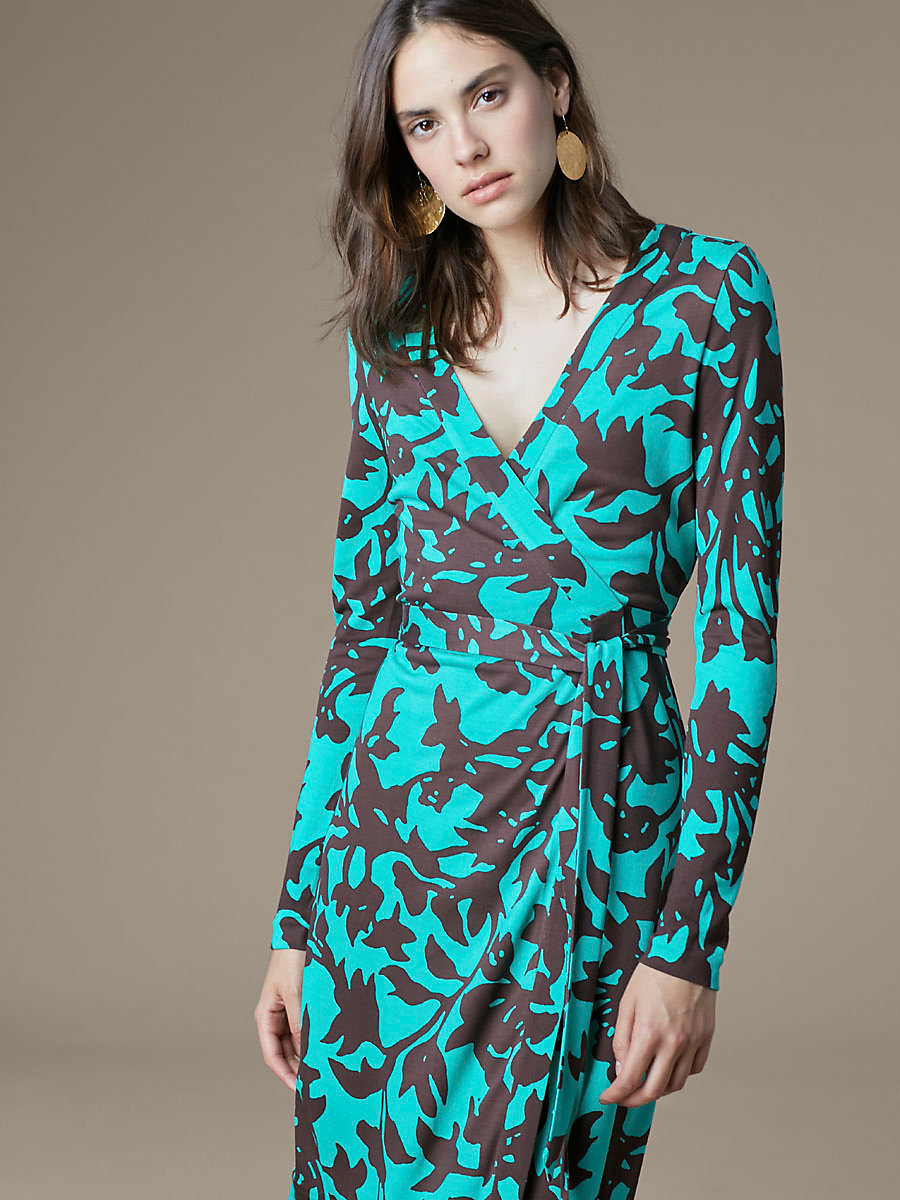 Banded Long-Sleeve Wrap Dress in Brulon Aquamarine by DVF