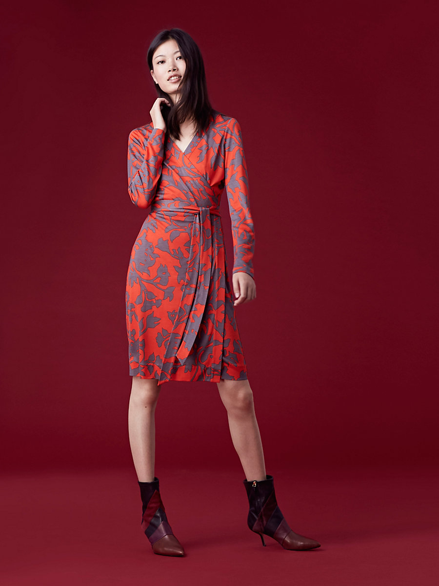 Banded Long-Sleeve Wrap Dress in Brulon Bright Red by DVF