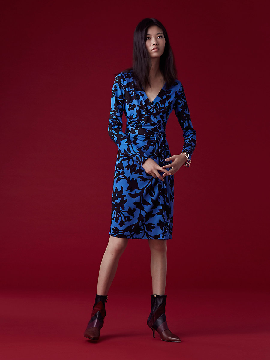 Banded Long-Sleeve Wrap Dress in Brulon Denim by DVF