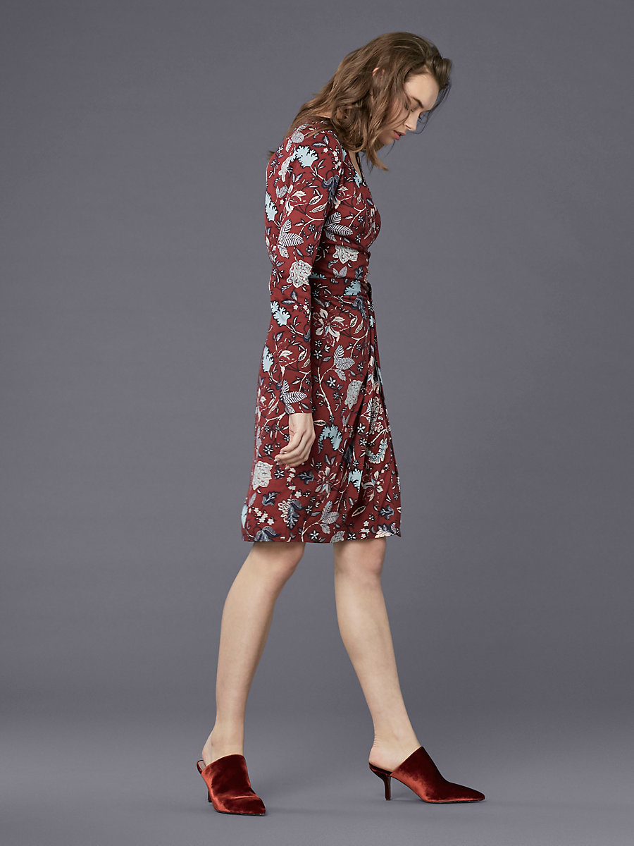 Banded Long-Sleeve Wrap Dress in Canton Bordeaux by DVF