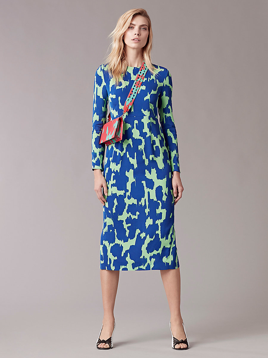 Long Sleeve Tailored Midi Dress in Eylan Klein Blue by DVF