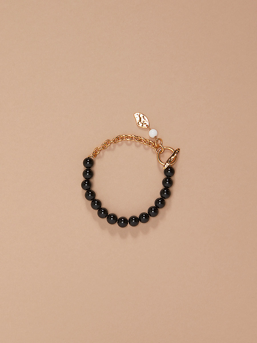 Beaded Chain Bracelet in Gold/ Black/ White by DVF