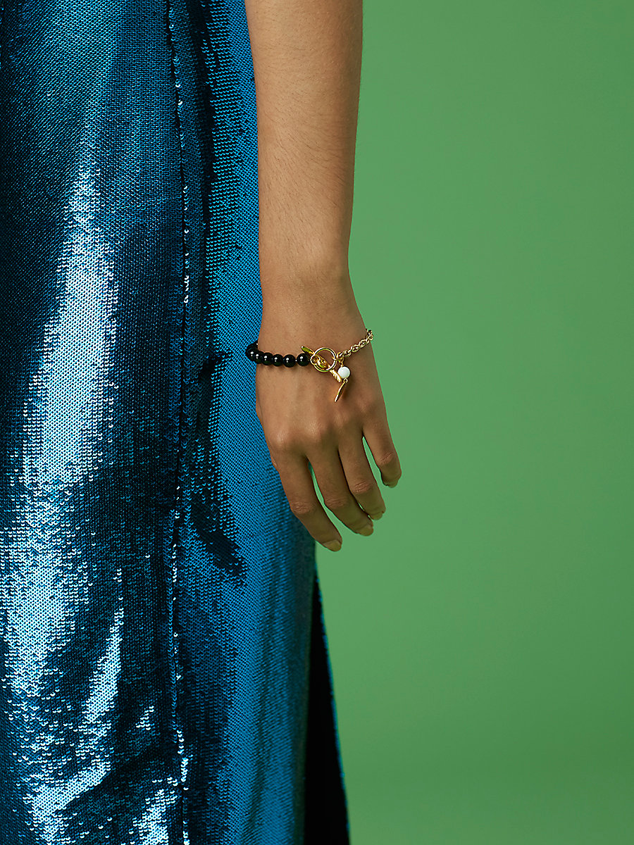 Beaded Chain Bracelet in Gold/ Black/ White by DVF