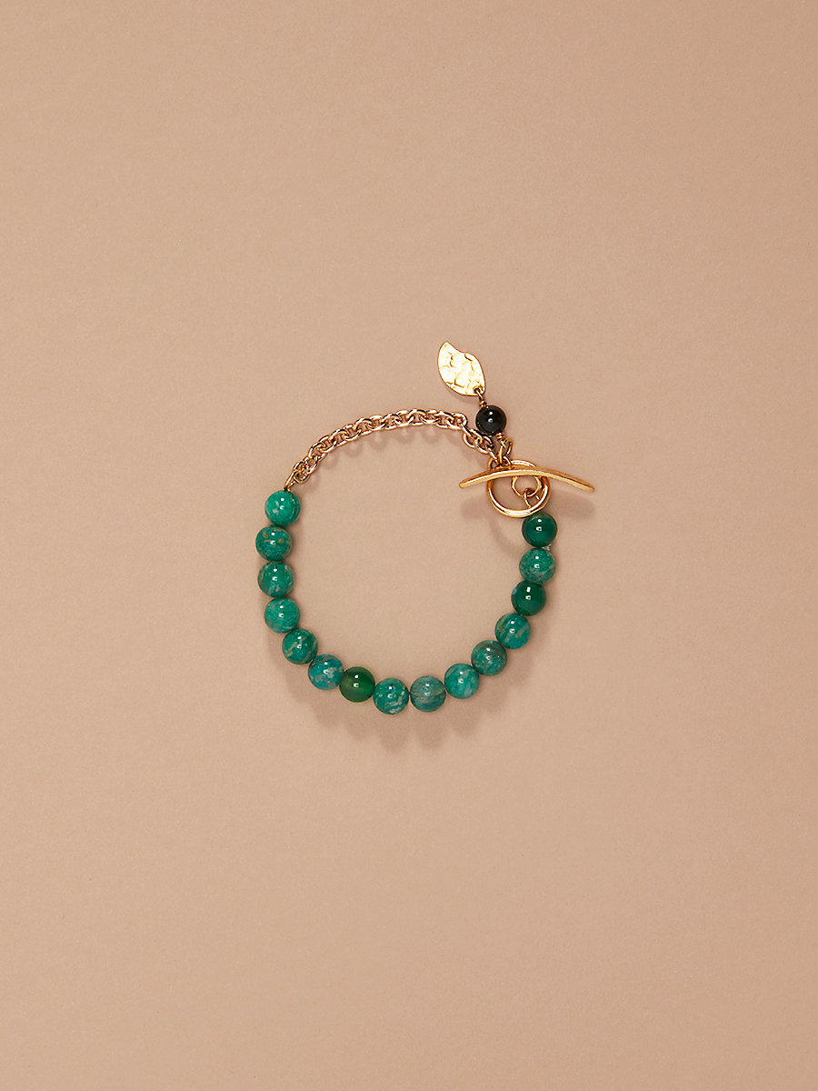Beaded Chain Bracelet in Gold/ Jade/ Black by DVF