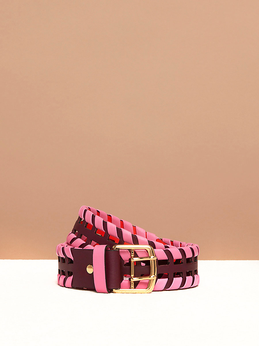 Perforated Whipstitch Belt in Bordeaux/ Orange/ Pink Azalea by DVF