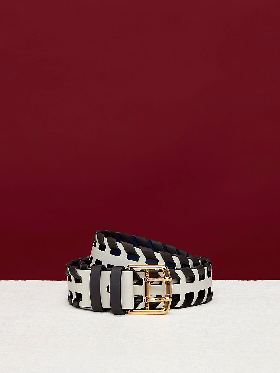 Perforated Whipstitch Belt in Midnight/ Ivory/ Ash by DVF