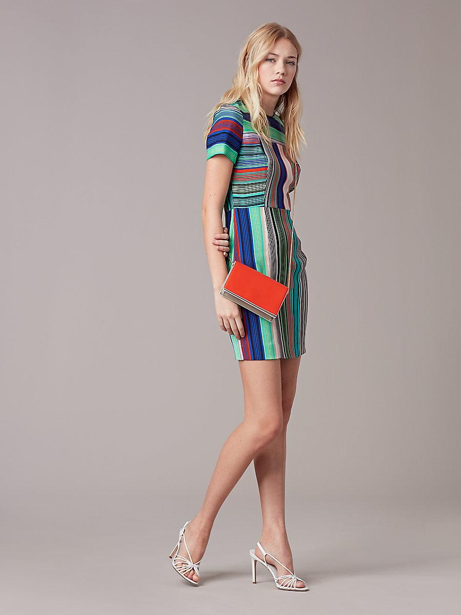 Short-Sleeve Tailored Dress in Burman Stripe Multi by DVF