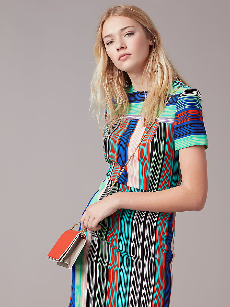 Short-Sleeve Tailored Dress in Burman Stripe Multi by DVF