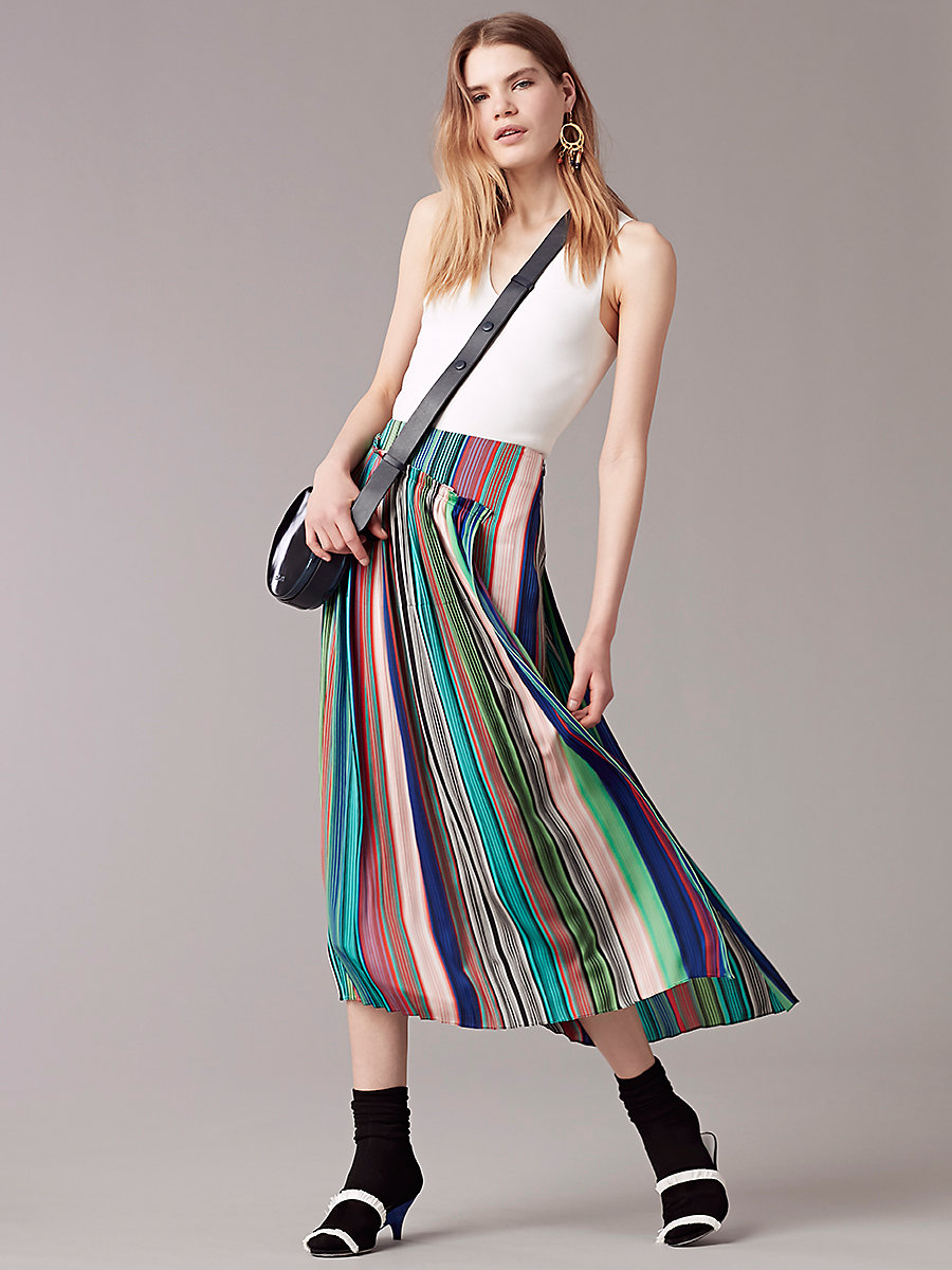 Tailored Asymmetric Overlay Skirt in Burman Str Mlt/burman Str Mlt by DVF