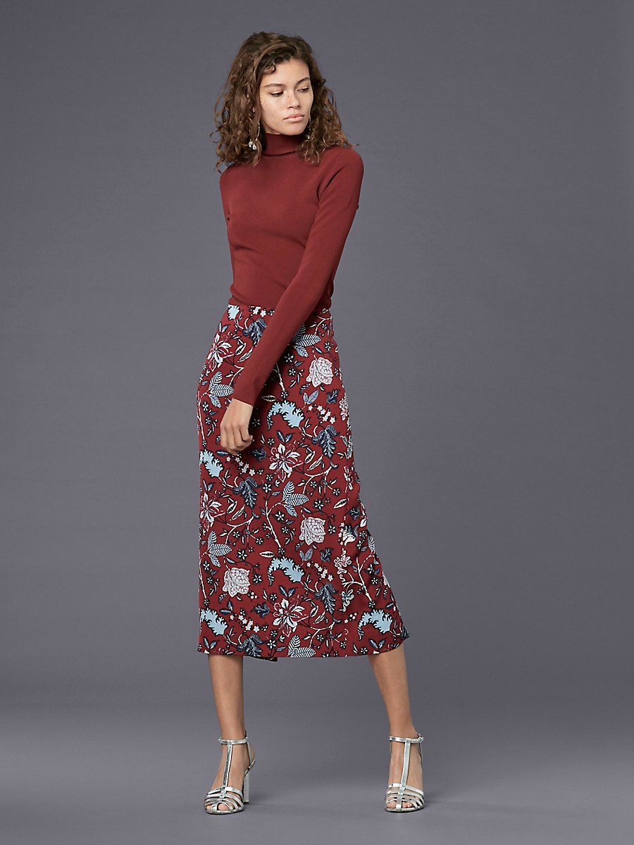 Tailored Midi Pencil Skirt in Canton Bordeaux by DVF